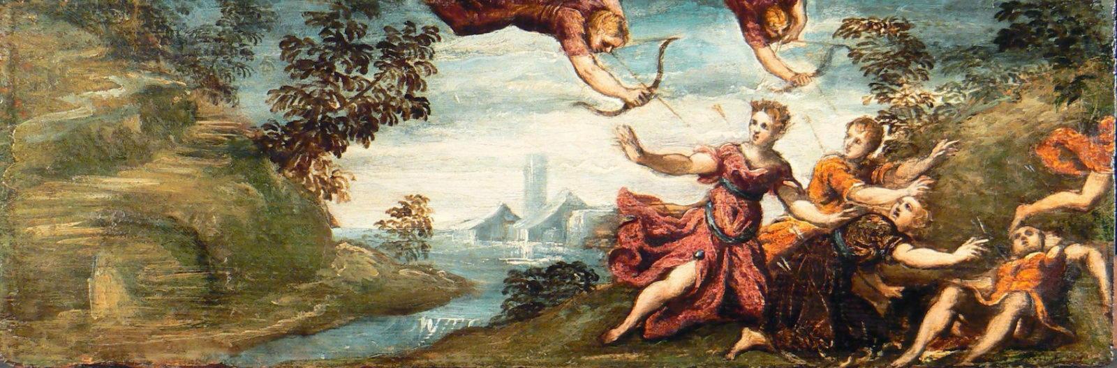 Аполлон и Диана убивают детей Ниоба.