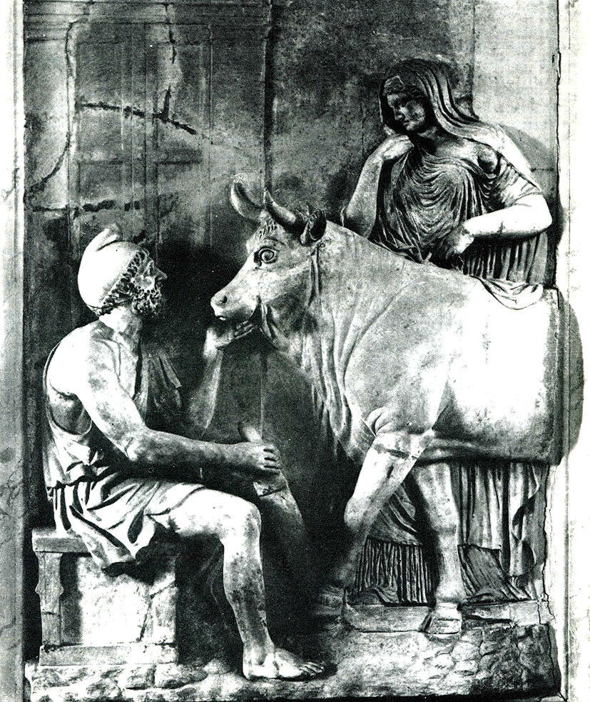 Дедал и Пасифая. Римский рельеф
