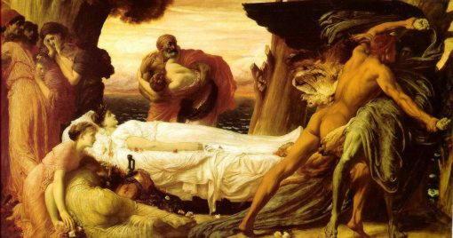Гипнос и Танатос Геракл сражается со Cмертью, чтобы спасти Алкестиду Фредерик Лейтон