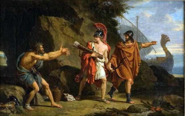 Одиссей и Неоптолем берут лук Геркулеса у Филоктета