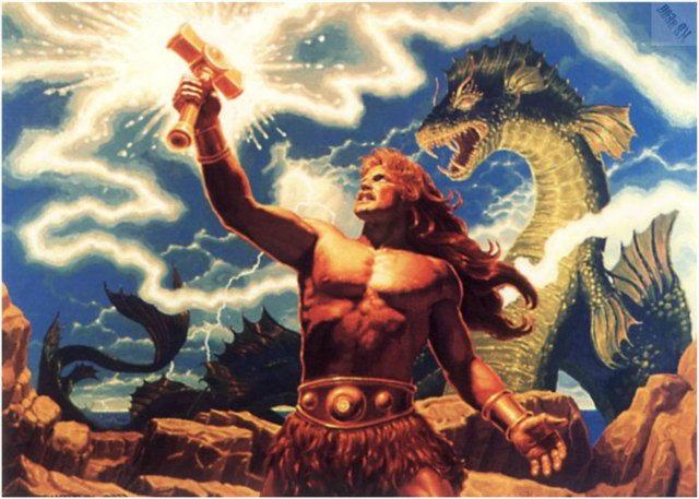 Тор, старший сын Одина, бог грома и молний.