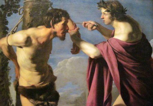 Марсий, музыкант, проигравший Аполлону, и с которого живьем содрали кожу