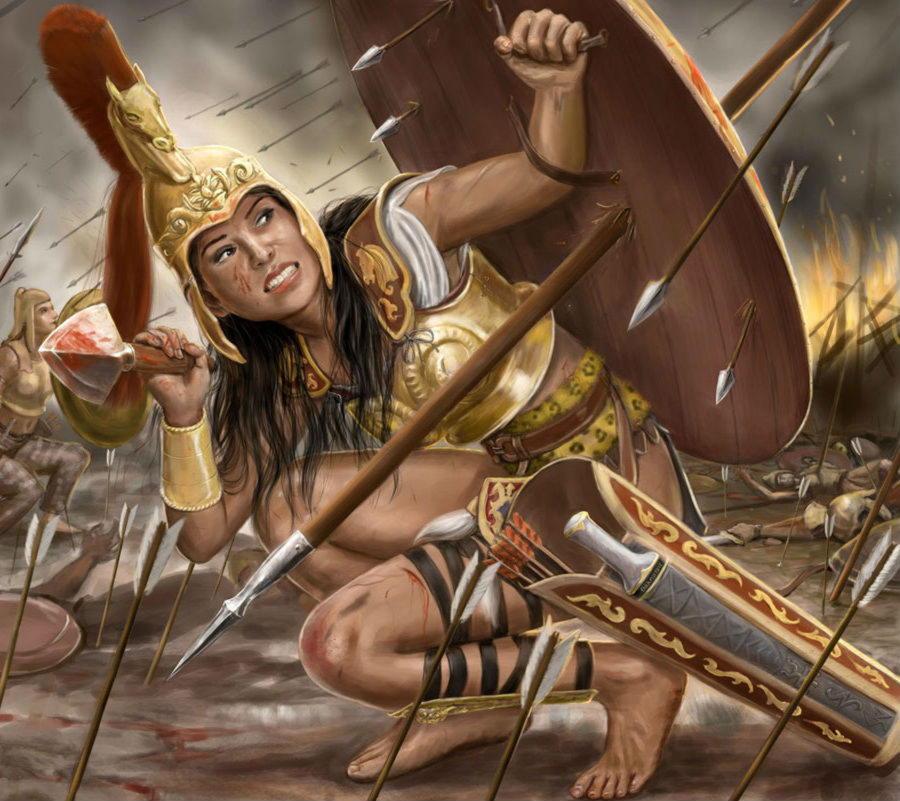 Пенфесилёя (Пентесилёя), греч. — дочь бога войны Ареса и нимфы Отреры, царица амазонок