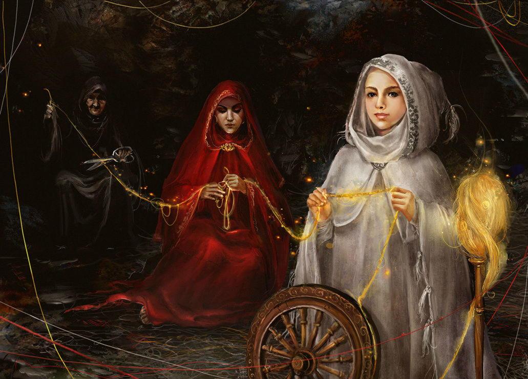 Мойры, греч., лат. Парки — дочери Зевса и богини законного порядка Фемиды; богини судьбы.