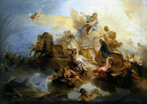 Фаэтон, сын Гелиоса, сраженный Зевсом на солнечной колеснице
